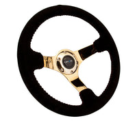 "NRG Race Style Steering Wheel 3""Deep Black Suede Red Stitching Chrome Gold Spoke"