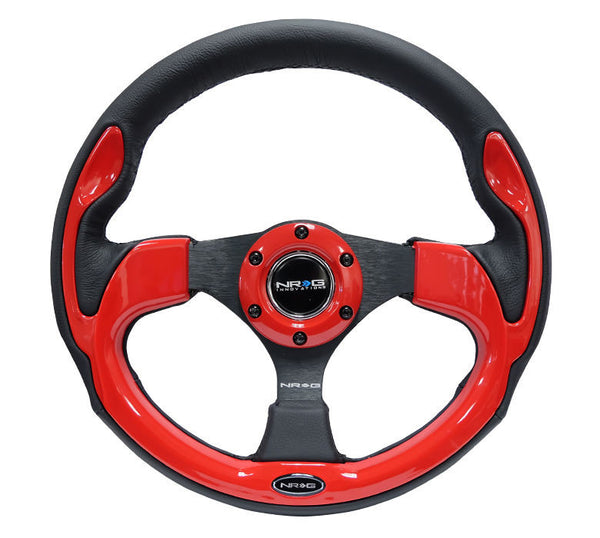 NRG SPORT STEERING WHEEL 320MM SPORT LEATHER WITH MATTE RED TRIM UNIVERSAL