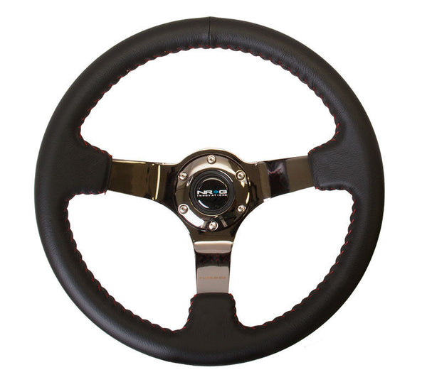 NRG Deep Dish Steering Wheel 350mm Black Leather with Red Stitch & BLACK Center