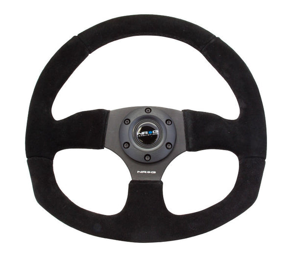 NRG Innovations Race Series Steering Wheel Black Suede Black Spokes - RST-009S