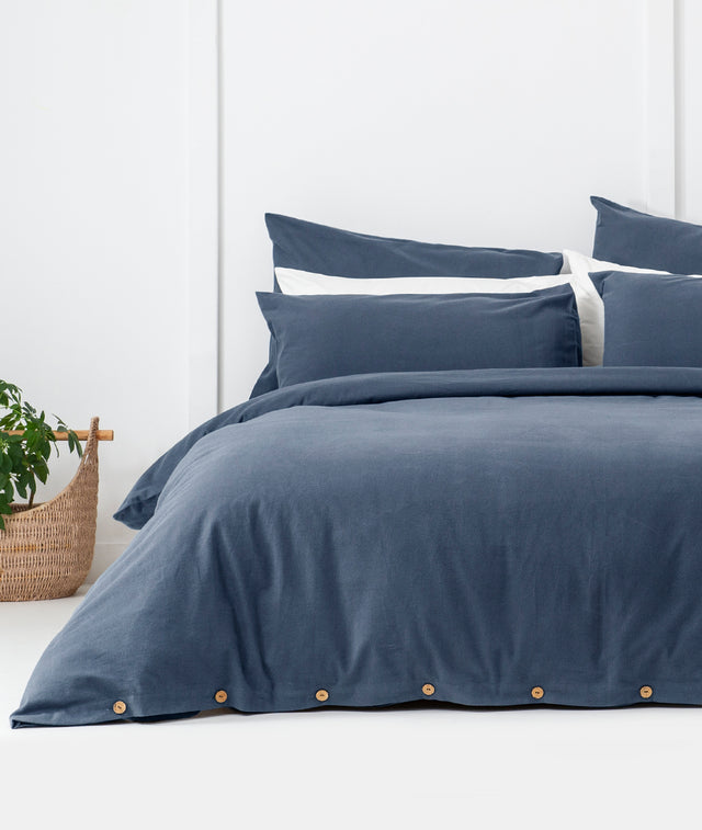 Bhumi Organic Cotton- Flannel Plain Quilt Cover - Kingfisher Blue