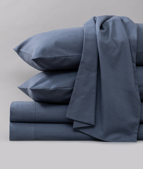 Bhumi Organic Cotton - Flannel Sheet Set - Kingfisher Blue