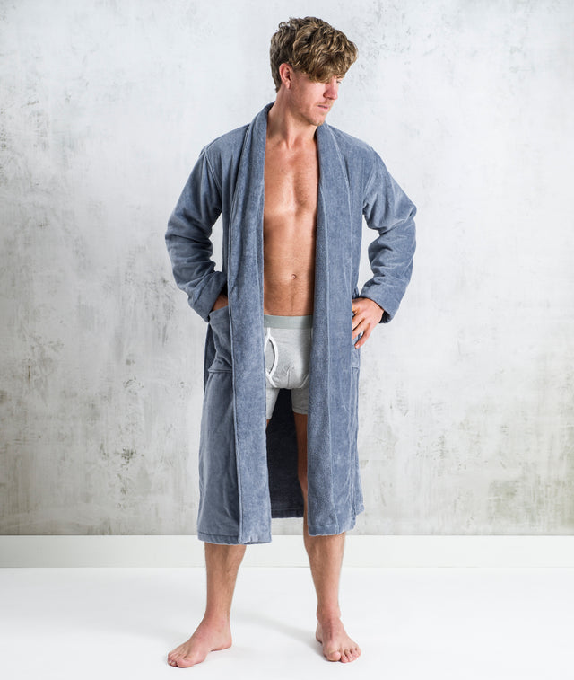 Bhumi Organic Cotton - Spa Robe - Granite Blue