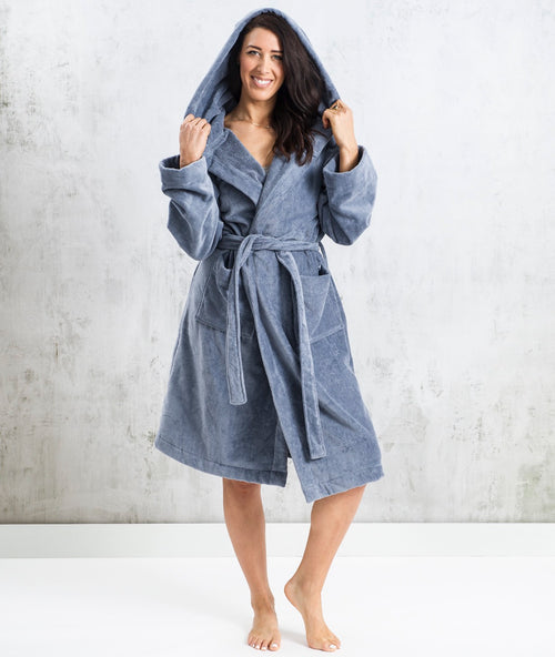 Bhumi Organic Cotton - Spa Robe With A Hood - Granite Blue