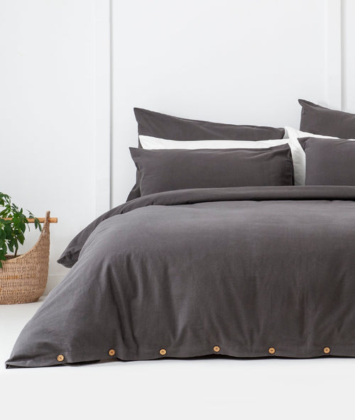 Bhumi Organic Cotton- Flannel Plain Quilt Cover - Charcoal