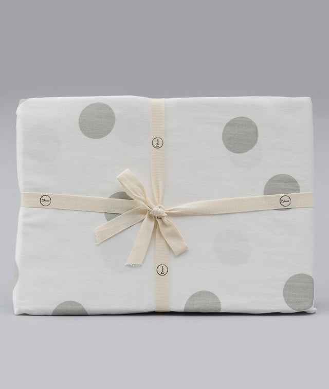 Bhumi Organic Cotton - Fitted Cot Sheet - Grey Large Polka Dots