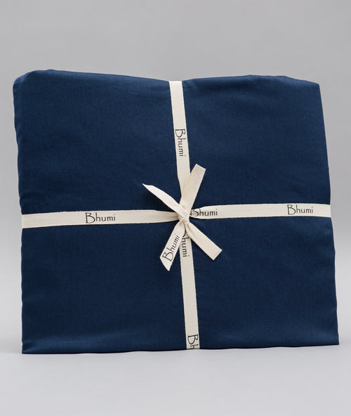 Bhumi Organic Cotton - Fitted - Sateen Sheet - Navy Blue