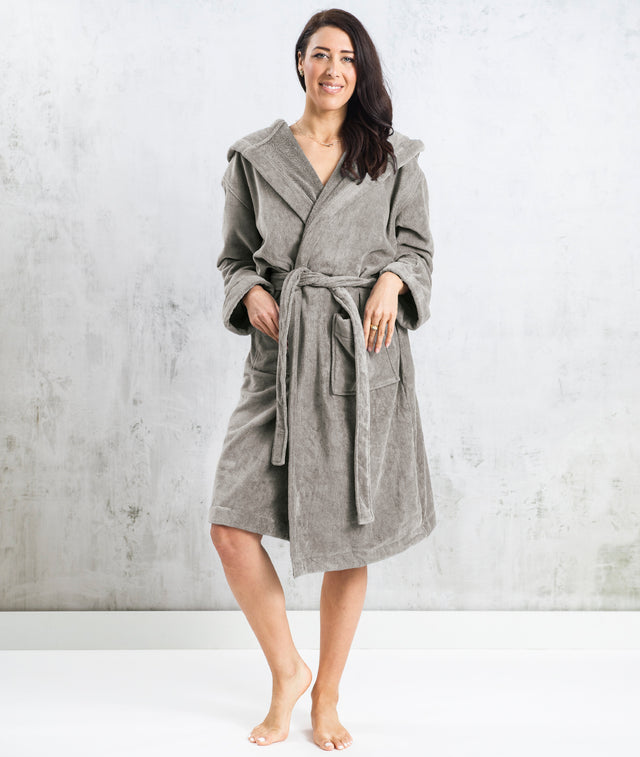 Bhumi Organic Cotton - Spa Robe With A Hood - Grey