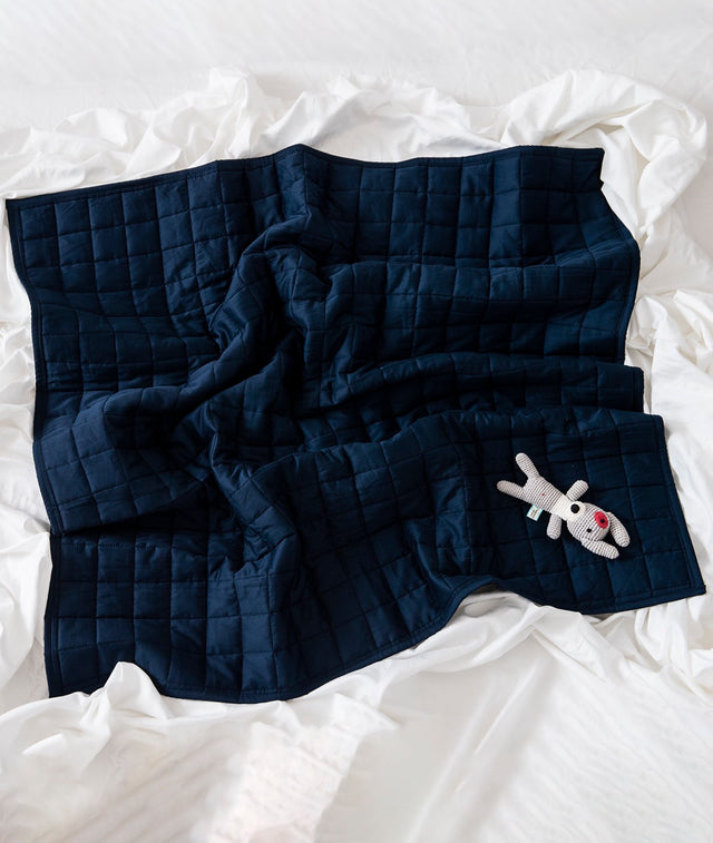 Bhumi Organic Cotton - Quilted Blanket - Navy Blue