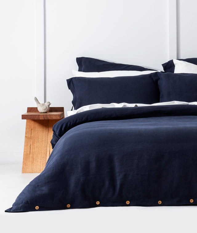 Bhumi Organic Cotton - Linen Plain Quilt Cover Set - Navy