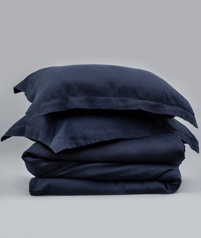 Bhumi Organic Cotton - Linen Plain Quilt Cover Set - Navy Blue