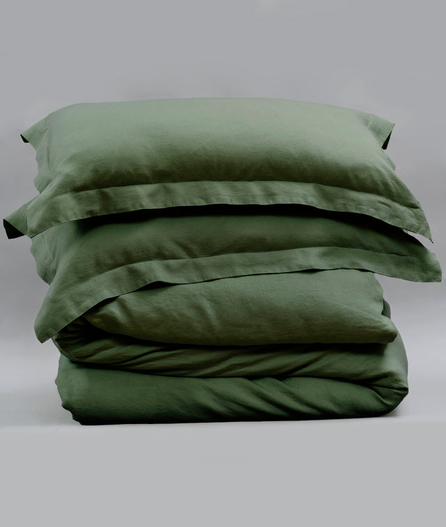 Bhumi Organic Cotton - Linen Plain Quilt Cover Set - Forest Green