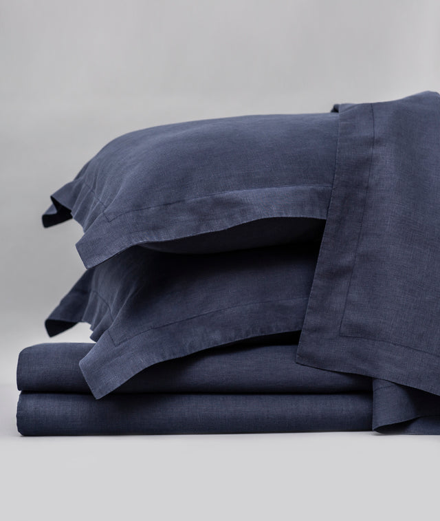 Bhumi Organic Cotton - Linen Sheet Set - Navy Blue