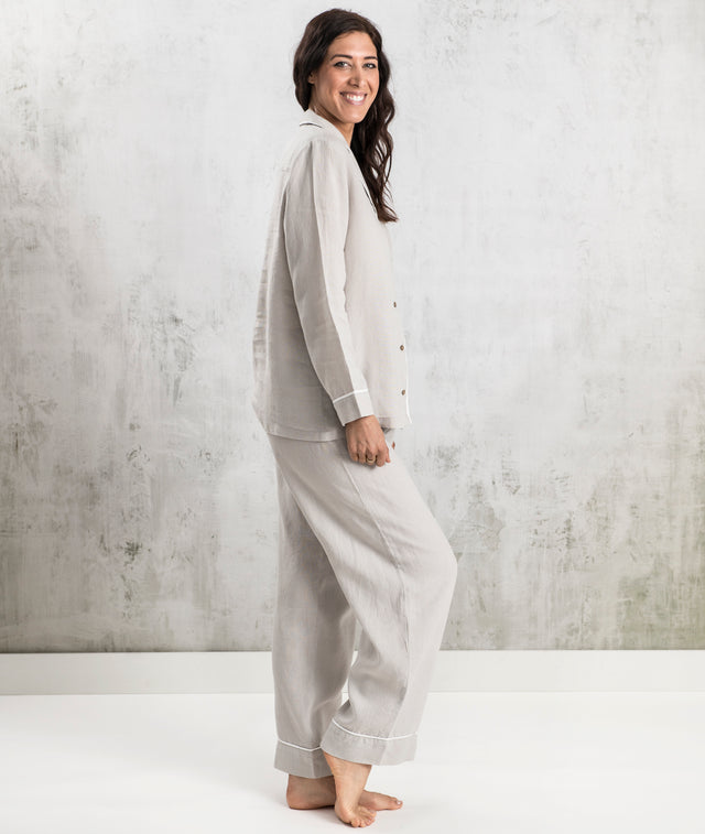 Bhumi Organic Cotton - Linen Long PJ Set - Light Grey