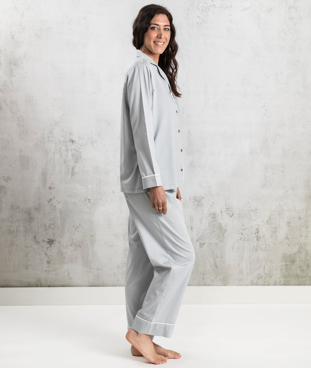 Bhumi Organic Cotton - Sateen Long PJ Set - Sky Blue