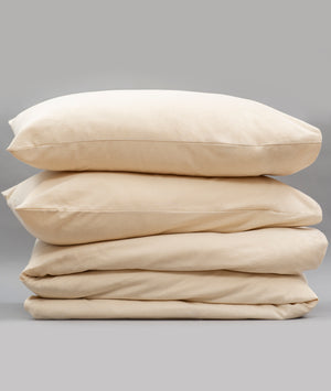 Bhumi Organic Cotton- Flannel Plain Quilt Cover - Natural