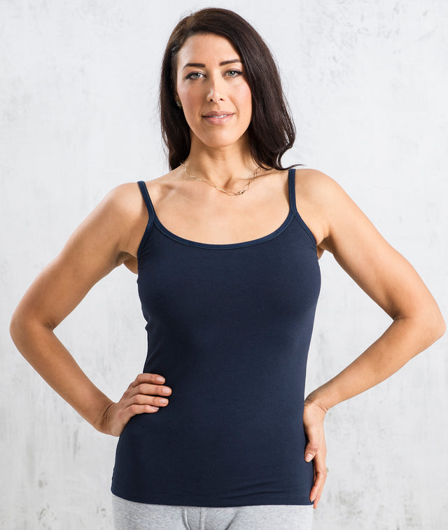 Bhumi Organic Cotton - Shelf Bra Camisole - Navy