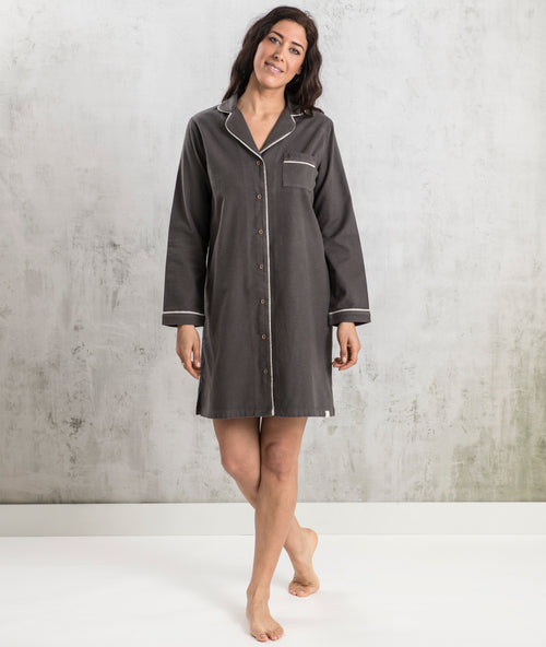 Bhumi Organic Cotton - Flannel Night Shirt - Charcoal