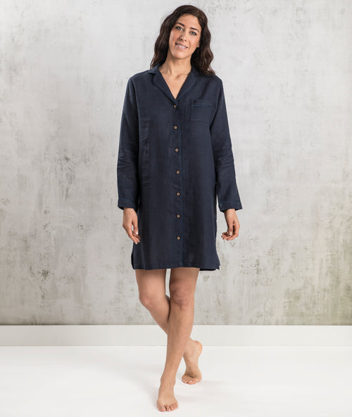 Bhumi Organic Cotton - Linen Night Shirt - Navy