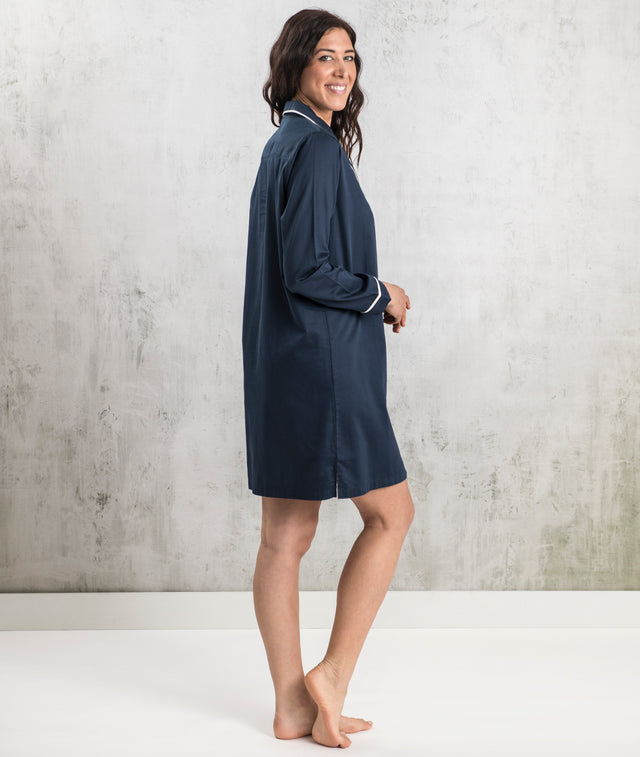 Bhumi Organic Cotton - Sateen Night Shirt - Navy