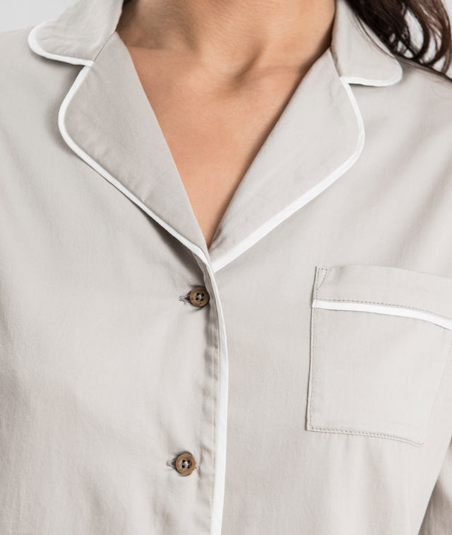 Bhumi Organic Cotton - Sateen Night Shirt - Pewter