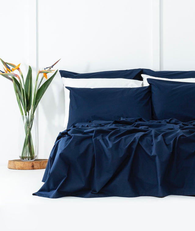 Bhumi Organic Cotton - Percale Sheet Set - Navy Blue