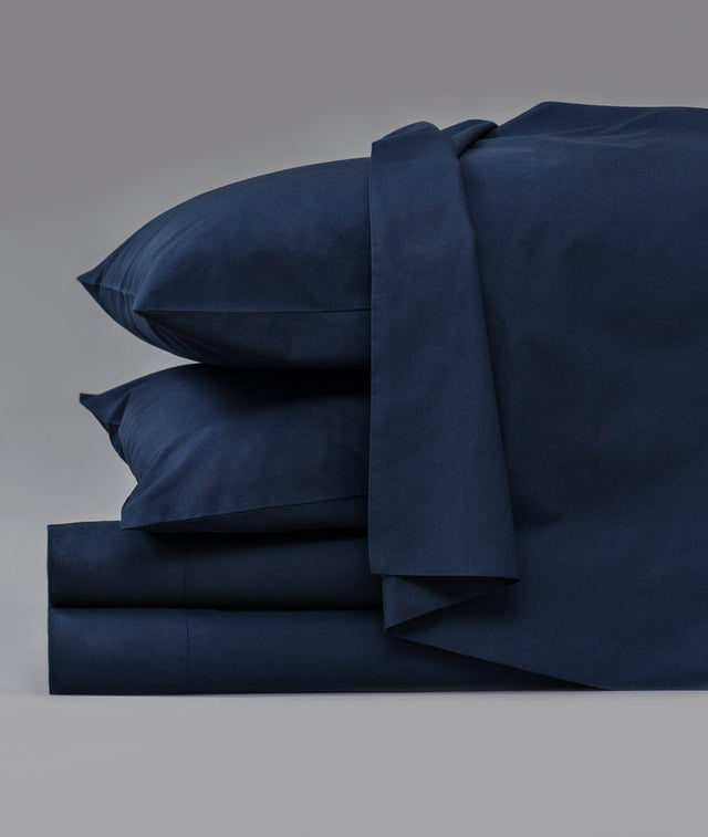 Bhumi Organic Cotton - Percale Sheet Set - Navy
