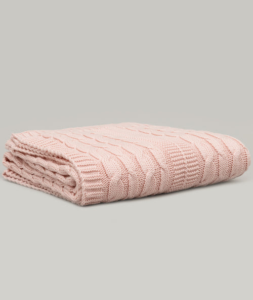 Bhumi Organic Cotton - Baby Cable Knit Throw - Light Pink