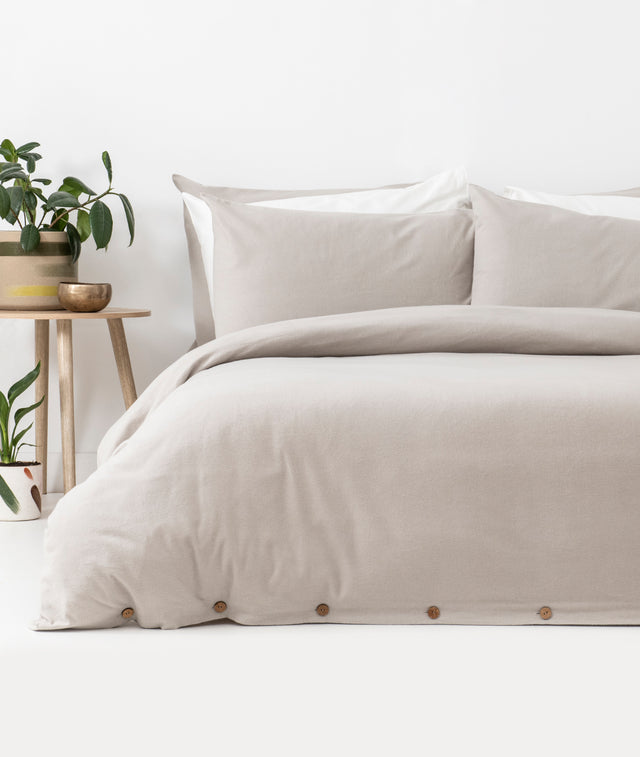 Bhumi Organic Cotton- Flannel Plain Quilt Cover - Light Grey
