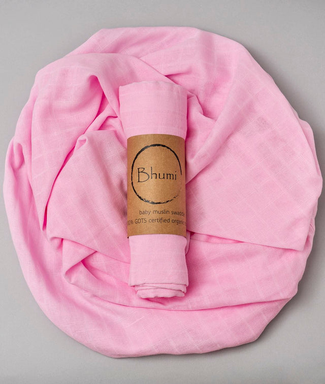 Bhumi Organic Cotton - Baby Muslin Swaddle - Rose