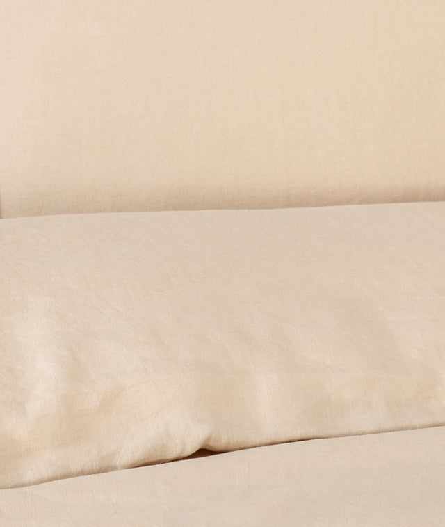 Bhumi Organic Cotton - Linen Plain Quilt Cover Set - Sand