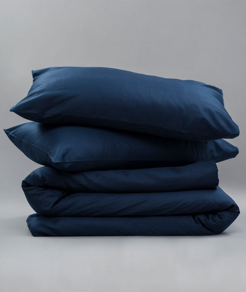 Bhumi Organic Cotton - Percale Plain Quilt Cover - Navy