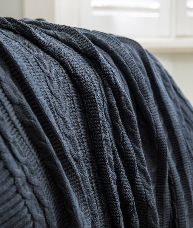 Bhumi Organic Cotton - Cable Knit Throw - Charcoal