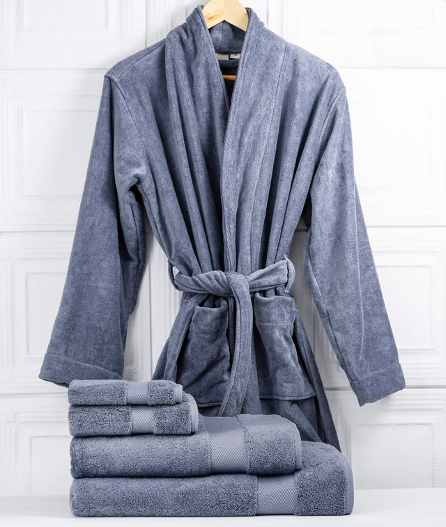 Bhumi Organic Cotton - Spa Robe & Towel Bundle - Granite Blue