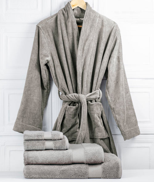 Bhumi Organic Cotton - Spa Robe & Towel Bundle - Grey