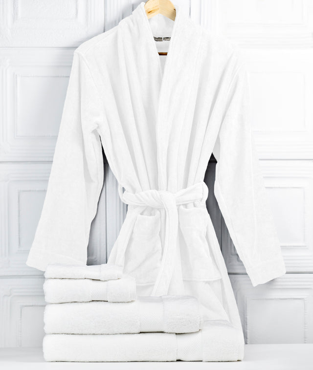 Bhumi Organic Cotton - Spa Robe & Towel Bundle - White