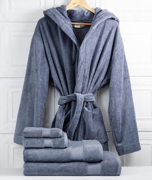 Bhumi Organic Cotton - Spa Robe (with Hood) & Towel Bundle - Granite Blue
