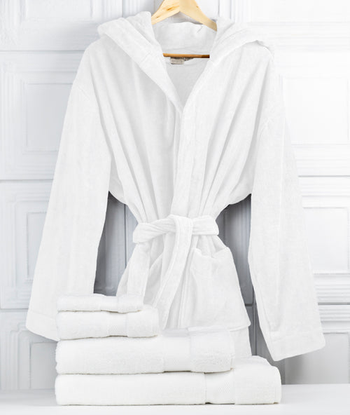 Bhumi Organic Cotton - Spa Robe (with Hood) & Towel Bundle - White