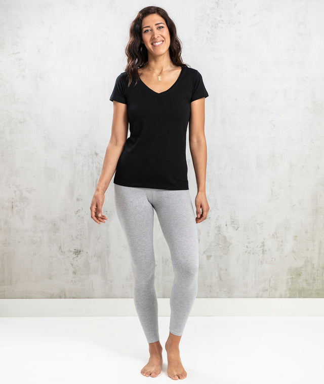 Bhumi Organic Cotton - Womens V Neck Tee - Black