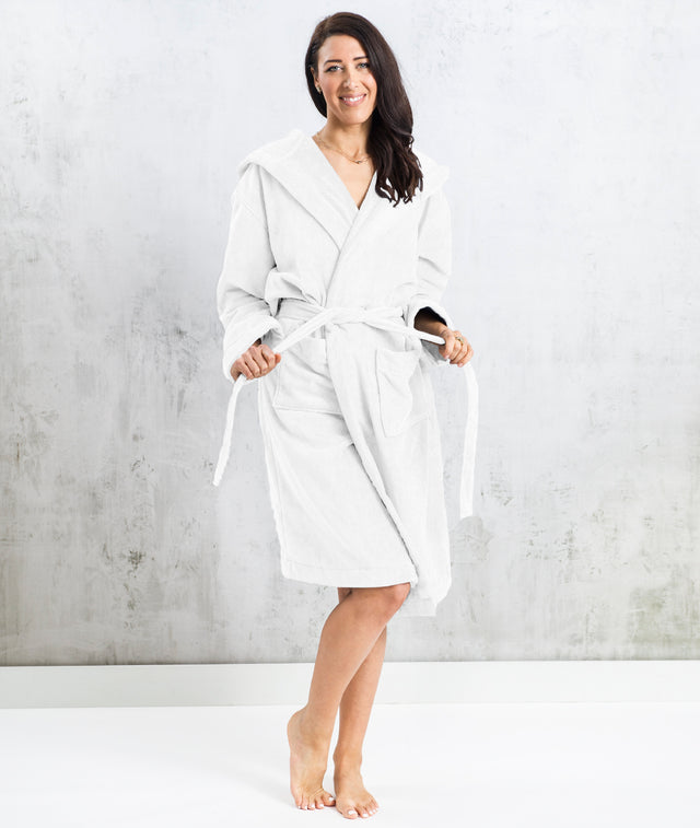 Bhumi Organic Cotton - Spa Robe With A Hood - White