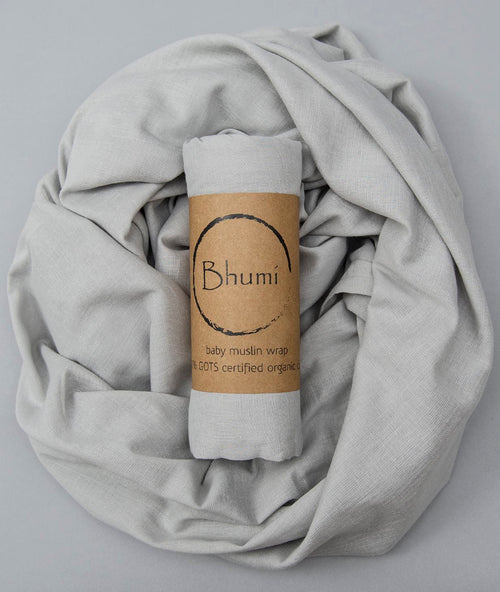 Bhumi Organic Cotton - Baby Muslin Wrap - Light Grey