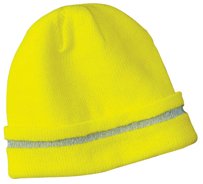 CornerStone® - Enhanced Visibility Beanie with Reflective Stripe.  CS800