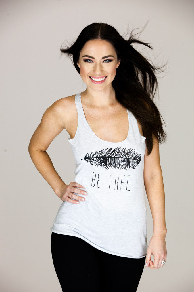 'BE FREE' Light Heather Gray Racer Tank