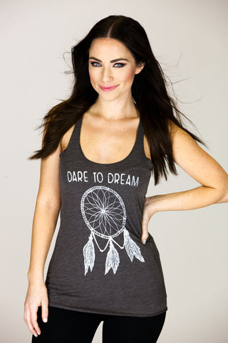 'DARE TO DREAM' Macchiato Racer Tank