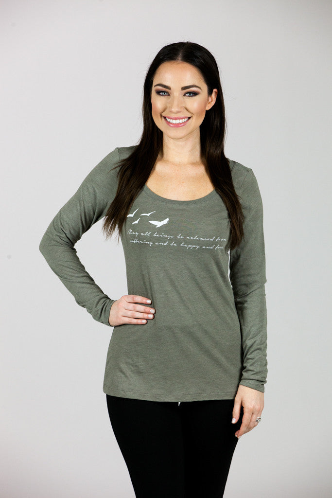'MAY ALL BEINGS' Venetian Gray Longsleeve Scoop