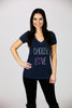 'CHOOSE LOVE' Vintage Navy V-Neck Tee