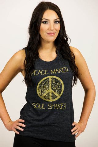 'PEACEMAKER' Vintage Black Slub Flowy Scoop Muscle Tank