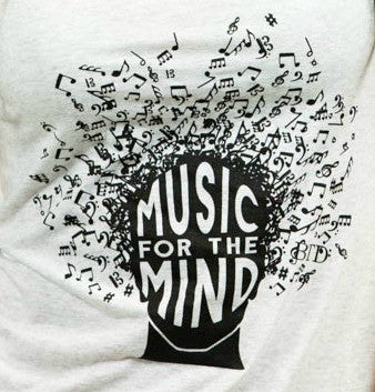 'MUSIC FOR THE MIND' Collaboration Men's Heather White Crew Tee