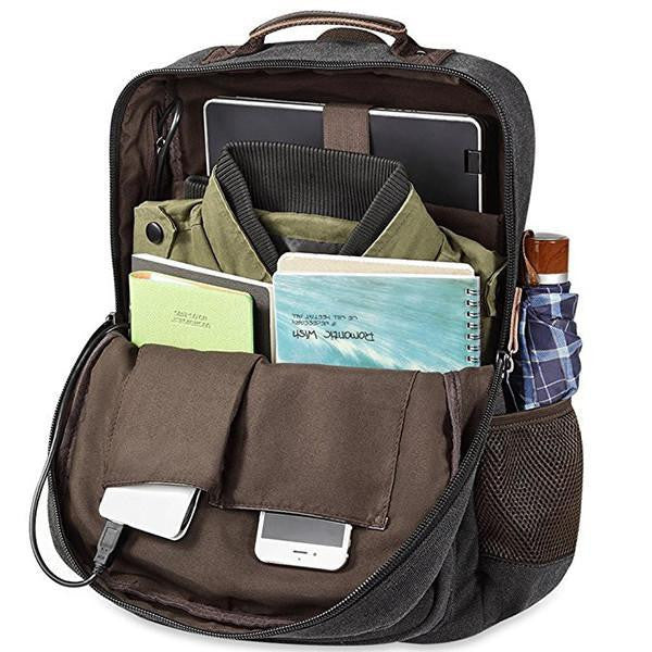 Canvas Travel Backpack With USB Socket