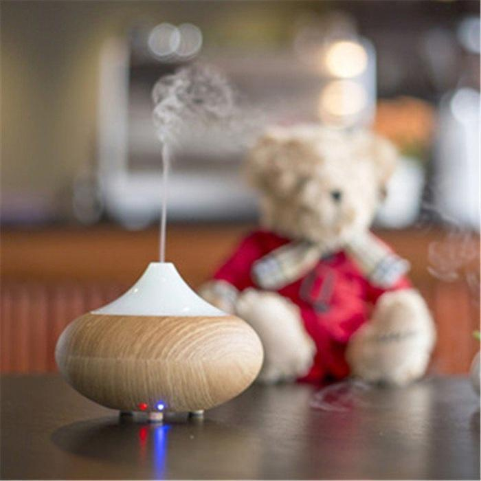Fancy Home Dark Wood Woodgrain LED Aroma Diffuser